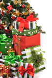 Abeto adornado de la Navidad Imagenes de archivo