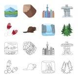 Abeto canadiense, castor y otros símbolos de Canadá Iconos determinados de la colección de Canadá en la historieta, símbolo del v Foto de archivo libre de regalías
