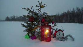 Abeto del árbol de la Navidad y del Año Nuevo en el campo nevoso con las decoraciones, lapso de tiempo 4K metrajes
