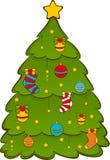Abeto do Natal dos desenhos animados. Fotos de Stock Royalty Free
