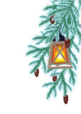 Abeto e lanterna elétrica do inverno Imagens de Stock