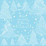 Abeto e rotulação do White Christmas no azul ilustração royalty free