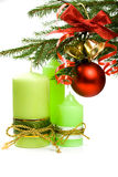Abeto, esfera, fita, sinos e velas do Natal Fotos de Stock Royalty Free