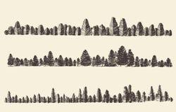 Abeto Forest Engraving Vector de los contornos de las montañas Foto de archivo libre de regalías