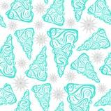 Abeto verdes e teste padrão cinzento dos flocos de neve Foto de Stock Royalty Free