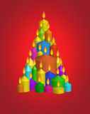 Abeto vermelho das velas Imagem de Stock