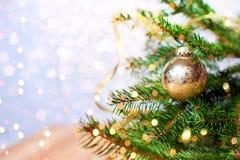 Abeto vermelho do abeto com as bolas douradas da decoração do Natal Fundo do feriado Imagens de Stock Royalty Free