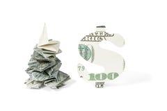 Abeto vermelho do sinal do dinheiro e de dólar Foto de Stock Royalty Free