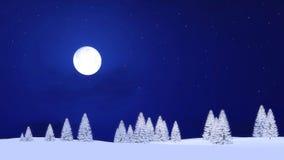 Abetos y luna Nevado en cielo nocturno estrellado stock de ilustración