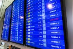 Abfahrt-Brett in Don Muang International Airport Thailand Lizenzfreies Stockbild