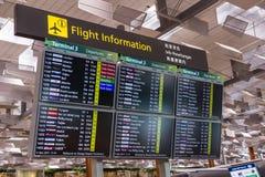 Abfahrt-Brett in internationalem Flughafen Changi, Singapur Chang Stockfoto