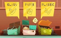Abfall-Abfall, der die Karikatur-Ikonen eingestellt sortiert lizenzfreie abbildung
