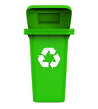 Abfall-Abfalleimer mit Recycling-Symbol Stockbild