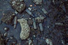 Abfall auf dem Strand bei Ebbe Stockfoto