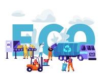 Abfall, der Eco-Konzept aufbereitet Arbeitskräfte verunreinigen stock abbildung