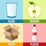 Abfall, der flache Ikone mit Bildsymbolen und -text sortiert stock abbildung