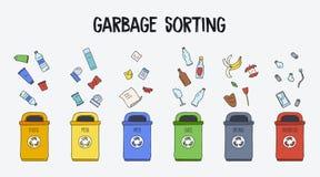 Abfall, der Konzept sortiert Abfalleimer mit verschiedenen Arten des Abfalls Bunte Hand gezeichnete Gekritzelillustration stock abbildung