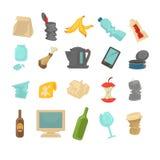 Abfall, der Lebensmittelabfälle, Glas, Metall und Papier sortiert lizenzfreie abbildung
