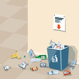 Abfall des Abfalls um den Abfalleimer stock abbildung