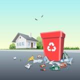 Abfall des Abfalls um den Abfalleimer außerhalb eines Hauses lizenzfreie abbildung