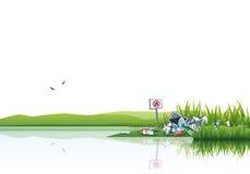 Abfall im Natur-Wasser, das Abfall verunreinigt stock abbildung
