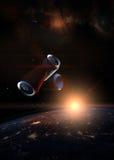 Abfall im Raumkonzept SodaBlechdosen über dem dunklen Planet Ohr vektor abbildung