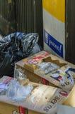 Abfall in Madrid stockfotos