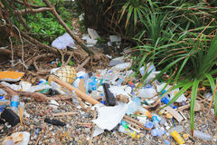Abfall sammelt auf dem Strand an Lizenzfreie Stockbilder