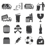 Abfall- und gabageikonen lizenzfreie abbildung