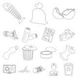 Abfall und Abfall umreißen Ikonen in der Satzsammlung vektor abbildung
