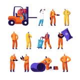 Abfall-Wiederverwertungs-und Metallurgie-Arbeiter-Satz Ökologie-Schutz-und Verschmutzungs-Industrie-Angestellte, Schweißer vektor abbildung