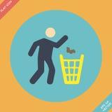 Abfall Zeichenikone - Vektorillustration flach Lizenzfreies Stockfoto