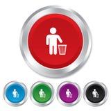 In Abfall zu werfen Nachgebrauch. Papierkorbzeichen. Stockfotografie