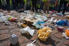 Abfallansammlungen während der Demonstration stockfoto