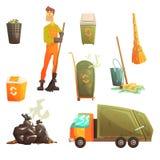 Abfallaufbereitungs-und Beseitigungs-in Verbindung stehender Gegenstand um Müllmann-Man Collection Of-Karikatur-helle Ikonen Stockfoto