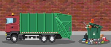 Abfallauto und -abfall lizenzfreie abbildung
