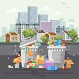 Abfallbehälter-Vektorillustration im modernen Design Abfalleimer eingestellt mit Abfall lizenzfreie abbildung