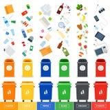 Abfalleimer mit srted Abfall lizenzfreie abbildung