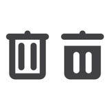 Abfalleimer, starke Linie des Papierkorbes und feste Ikone stock abbildung