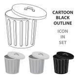 Abfalleimerikone in der Karikaturart lokalisiert auf weißem Hintergrund Abfall- und Abfallsymbolvorrat-Vektorillustration vektor abbildung