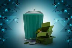 Abfallkasten mit Schrott lizenzfreie abbildung