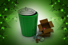 Abfallkasten mit Schrott stock abbildung