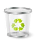 Abfallkorb mit der Wiederverwertung des Symbols Lizenzfreie Stockfotografie