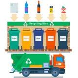 Abfallwirtschaftskonzeptillustration Die Wiederverwertung von Abfallelement-Abfalltaschen ermüdet Management, das Industrie verwe stock abbildung