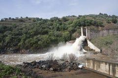 Abflusskanal der Verdammung des Yeguas Stockbild
