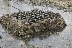 Abflusskanal und Abfluss im kleinen Teich Stockfotos