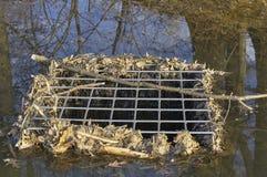 Abflusskanal- und Teichabfluß Stockfotografie