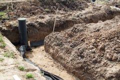 Abflussrohre und Inspektion gut für Abbau des Wassers von einem s Lizenzfreie Stockfotografie