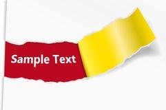 Abgebrochenes Blatt Papier mit einem Platz für Text Stockfoto