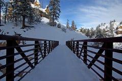 Abgedeckte Brücke des Schnees im Winter lizenzfreies stockbild